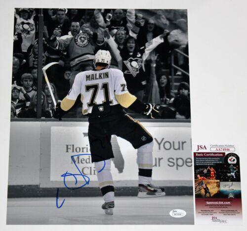 EVGENI MALKIN SIGNED 11x14 PHOTO NHL PITTSBURGH PENGUINS AUTOGRAPHED +JSA COA