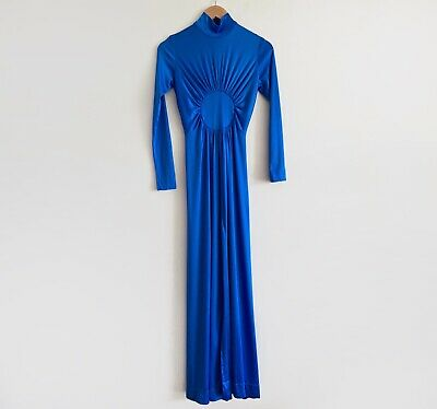 80s Dresses | Casual to Party Dresses vintage blue 80s gathered dress diana blue long sleeve maxi gown formal cock $42.91 AT vintagedancer.com