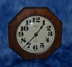 LINDEN QUARTZ CLOCK MEDIUM SOLID WOOD OCTAGON FRAME WALL CLOCK VINTAGE
