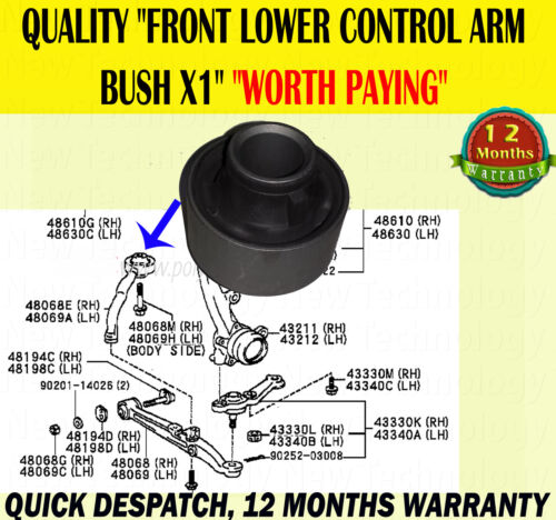 FOR TOYOTA ALTEZZA 2.0 LEXUS IS200 IS300 98-05 FRONT LOWER CONTROL ARM REAR BUSH