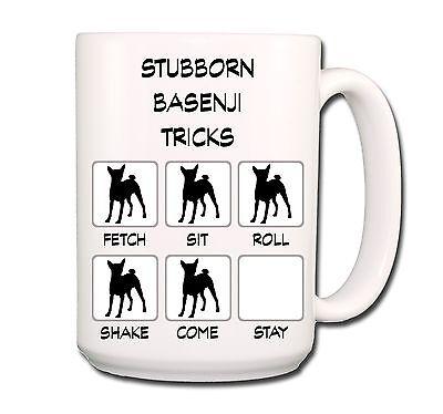 BASENJI Stubborn Tricks EXTRA LARGE 15oz COFFEE MUG