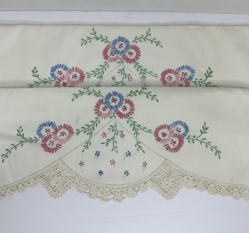 Pair Antique Vintage Blue Pink Floral Hand Embroidery Trim Pillowcases