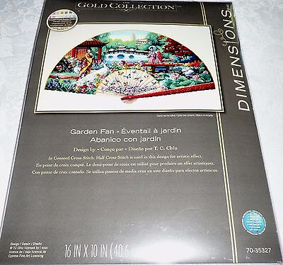 "Dimensions Counted Cross Stitch Gold Collection Japanese GARDEN FAN 16"" x 10"""