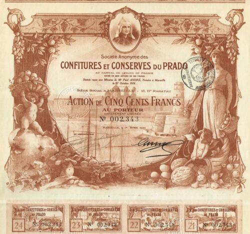 FRANCE JAMS AND PRESERVES OF PRADO stock certificate/bond BEAUTY