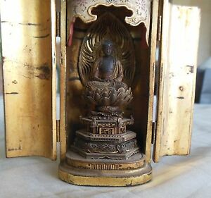 Antique-Japanese-1800s-Buddhist-Zushi-traveler-shrine-miniature-Buddha-temple