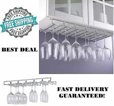 Chrome Stemware - Wine Glass Rack Under Cabinet 18 Pc Hanging Stemware Hanger Holder Organizer New