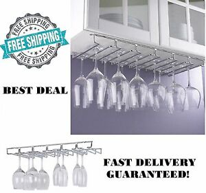 wine glass rack under cabinet 18 pc hanging stemware hanger holder organizer new - Hanging Wine Glass Rack