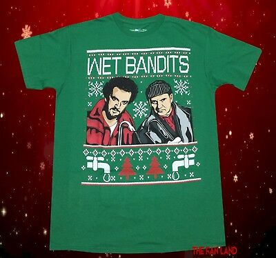 New Home Alone Wet Bandits Christmas Ugly Sweater Vintage Mens T-Shirt (Wet Shirt)