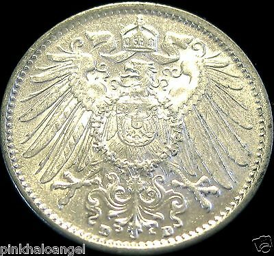 Germany German Empire 1915D Silver Mark Coin Rare High Grade