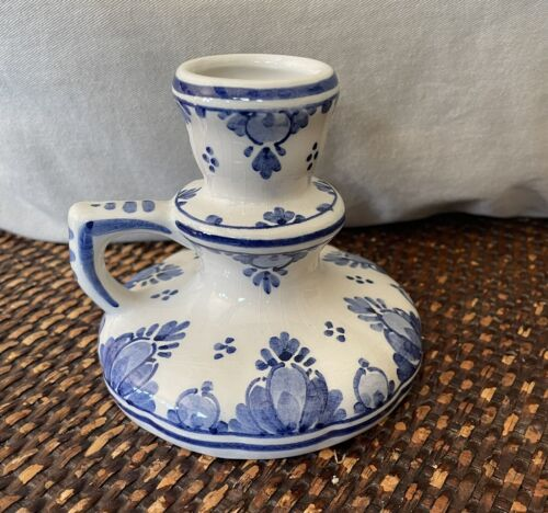 Delft Blue Holland Hand Painted Candlestick Holder W Handle - $9.99