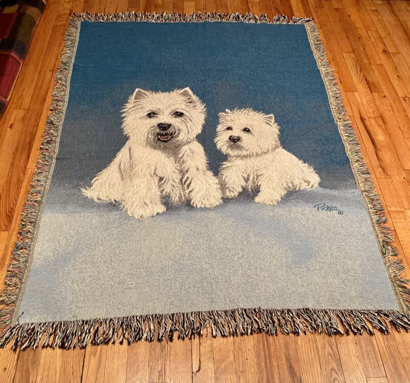 Westie West Highland White Terrier Dog Afghan Tapestry Throw Blanket w/Fringe
