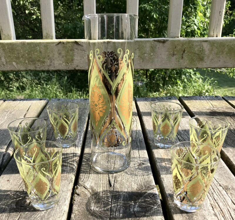 PASINSKI Martini Pitcher Stirrer 6 Glasses Mid Century Cocktail Set Green Gold