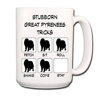 GREAT PYRENEES Stubborn Tricks EXTRA LARGE 15oz COFFEE MUG