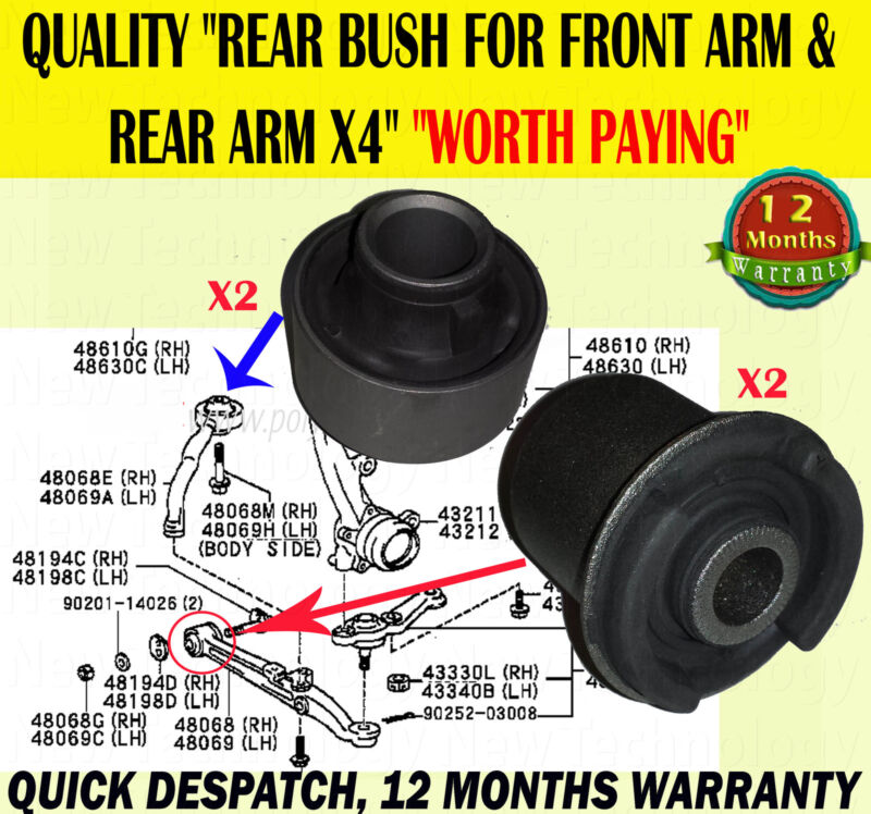 FOR TOYOTA ALTEZZA 2.0 LEXUS IS200 IS300 FRONT LOWER CONTROL ARM REAR BUSH X4