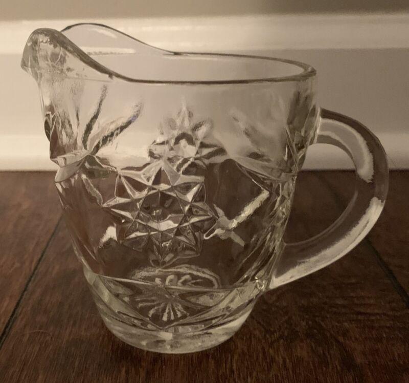 Vintage EAPC Anchor Hocking Oatmeal Glass Creamer Starburst Star of David