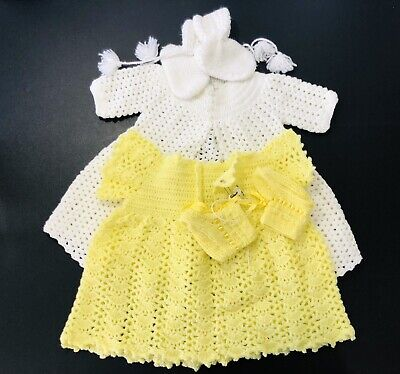 Lot Of 2 Hand Crochet Vintage Baby Dress Coat And Booties 0-3 Months Girl