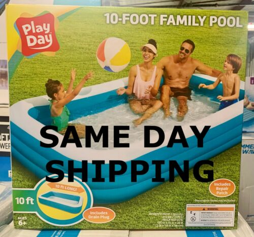 ✅ Play Day 10ft Rectangular Family Inflatable Pool FREE SAME DAY SHIPPING