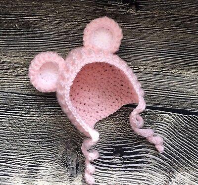 Newborn Baby Girl Pink Bear Bonnet Hat Crochet infant Animal photo prop - Baby Girl Bear Costume