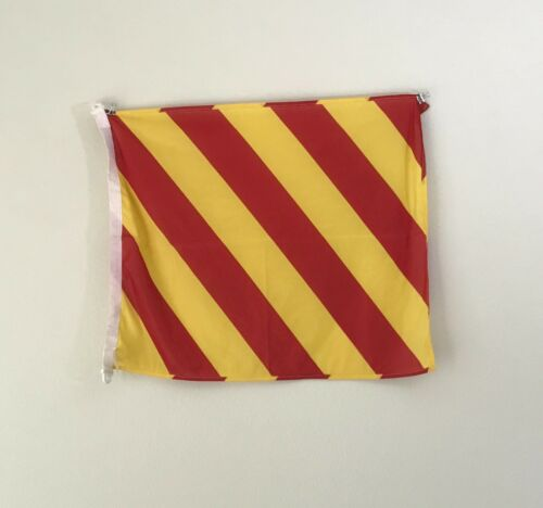 "Vintage Nautical Flag - 28"" Red And Yellow Maritime Flag - Letter Y Signal Flag"
