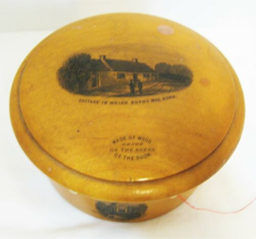 Antique Unusual Round Spool & Needle Wooden Box - Robert Burns Cottage