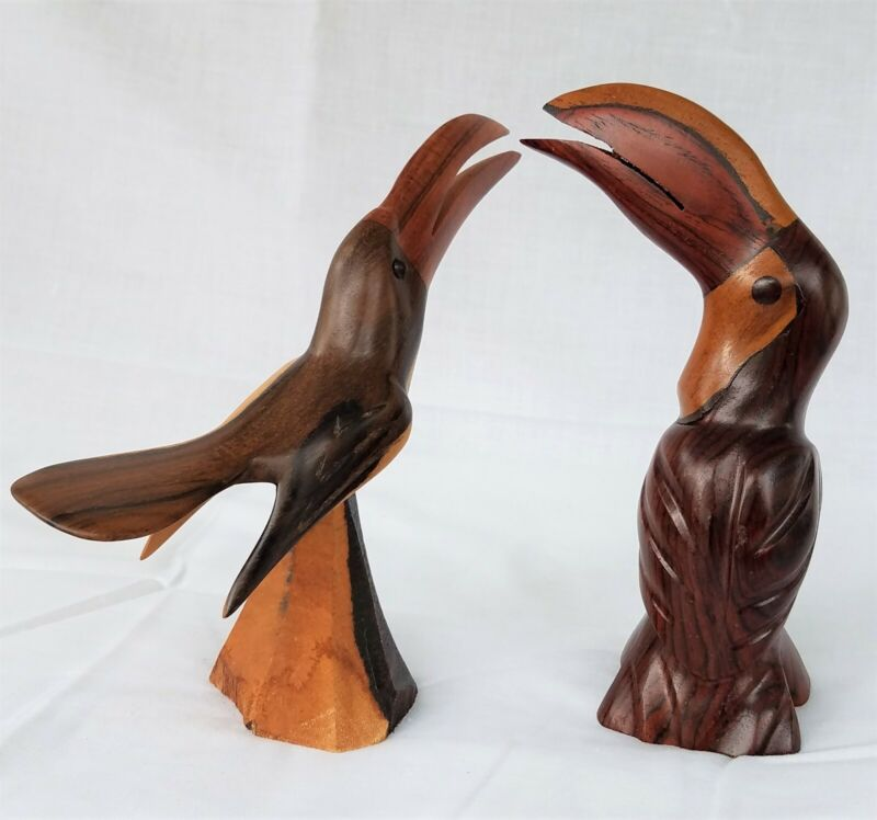 Pair of Hand Carved one is Signed Wooden Toucan Bird Figurines