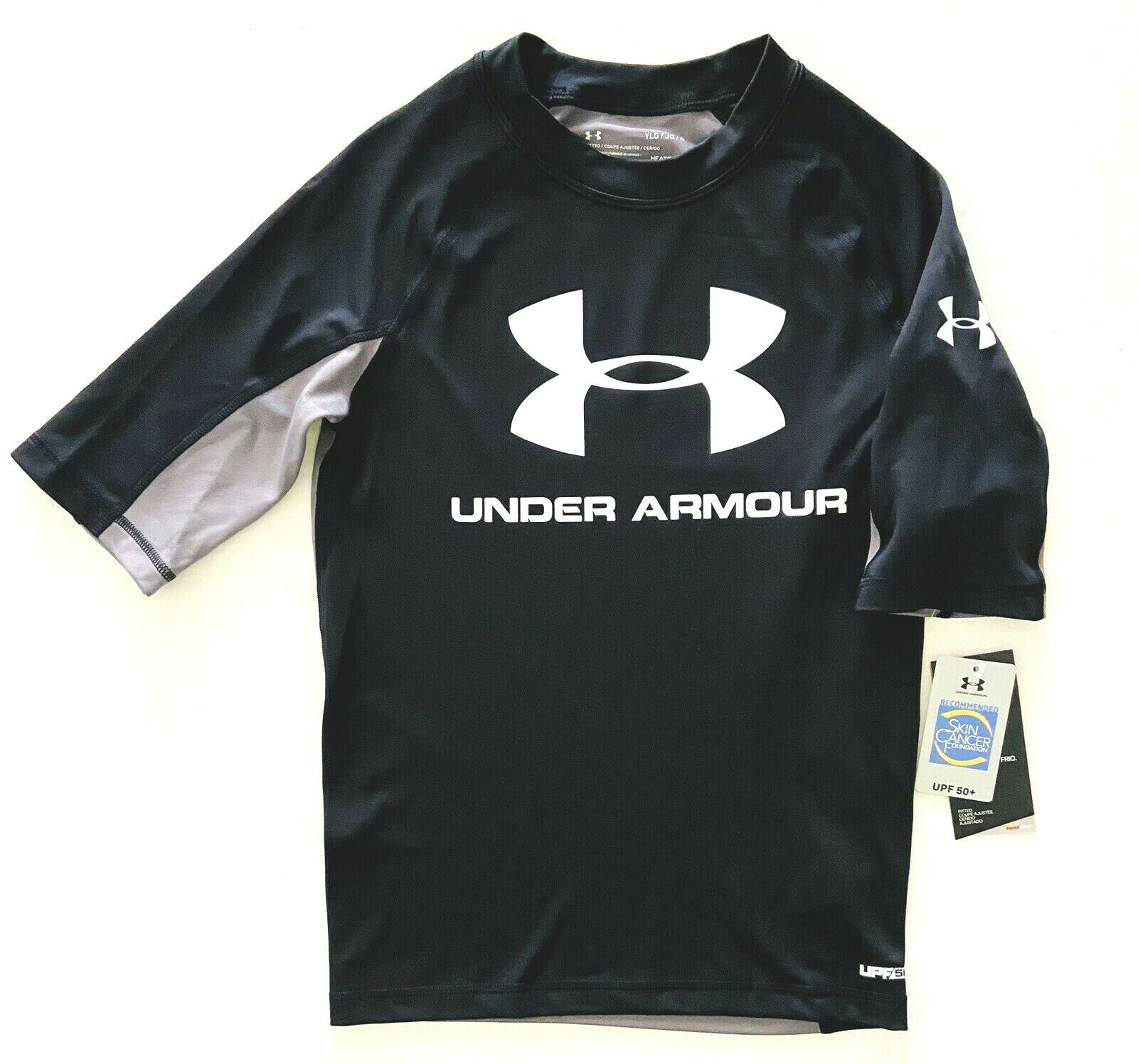 Under Armour Boys Youth Black Long Sleeve Fitted Dri-Fit 50+