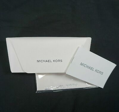 Michael Kors Glasses Sunglass Case Semi Hard Snap Silver White W/ Cloth 3 (Michael Kors Sunglass Case)