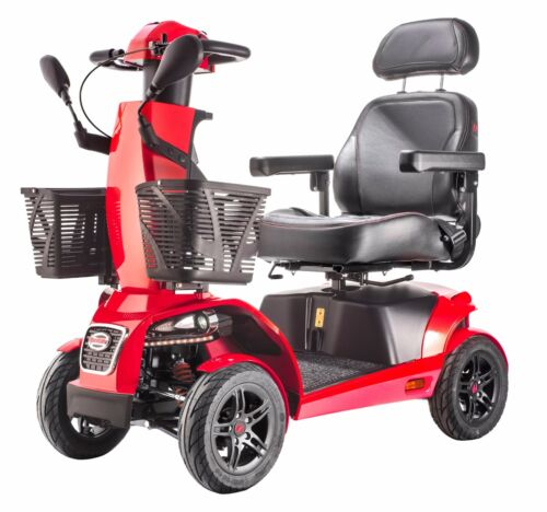 Red 4 Wheel Hd Mobility Scooter, 2 Front Baskets, Full Suspension, 9.4 Mph