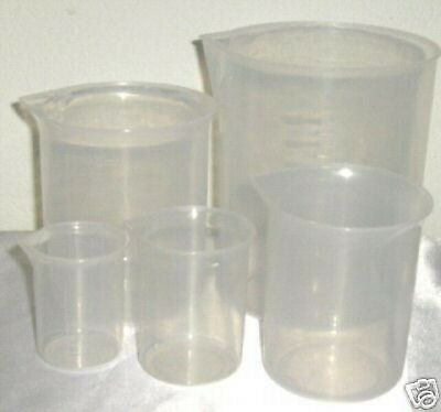 Set Of 5 Plastic Beaker Graduated Measuring Cup 501002505001000 Ml New