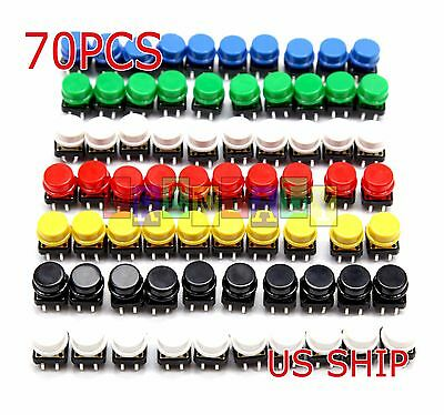 US Stock 70x Tactile Push Button Switch Momentary 12x12x7.3mm 7 Colors Tact Cap
