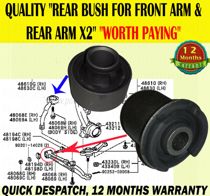 FOR TOYOTA ALTEZZA 2.0 LEXUS IS200 IS300 FRONT LOWER CONTROL ARM REAR BUSH X2