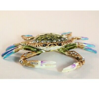Bejeweled Enameled Animal Trinket Box/Figurine With Rhinestones- Blue Crab