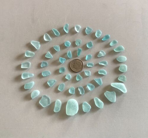 Beach Sea Glass 50 pieces Rich Aquas Genuine Surf-tumbled Mendocino CA