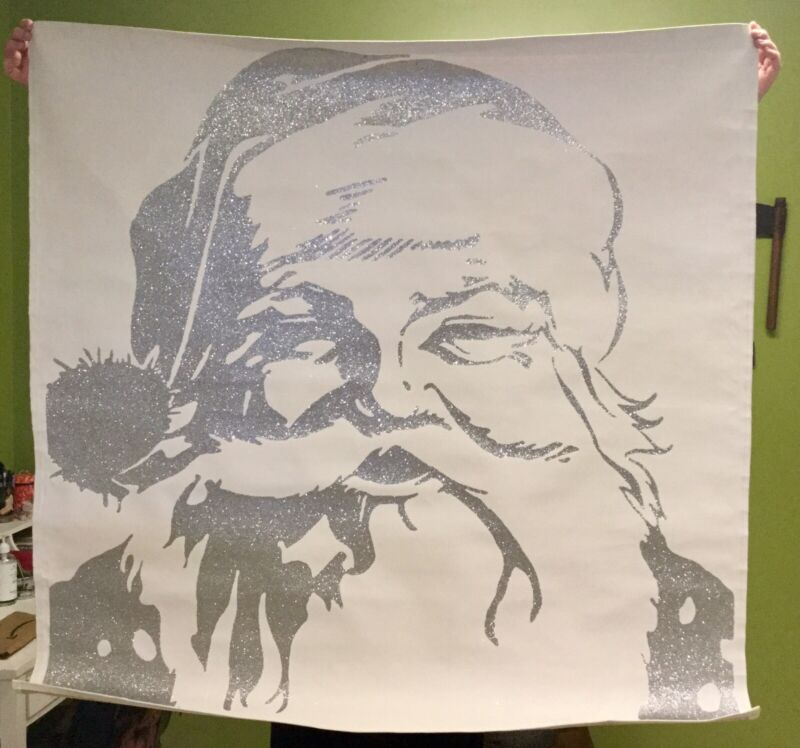 "52""x52"" POTTERY BARN Christmas Santa Claus Face Wall Mural Silver Glitter Canvas"