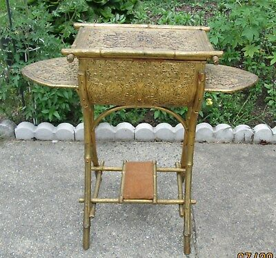 Rare Antique 18th Century Sewing Table Faux Bamboo with contents.