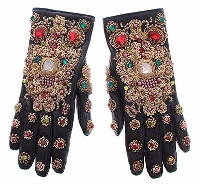 NEW $3700 DOLCE & GABBANA Black Leather Gold Crystal Baroque Wrist Gloves 8 / M