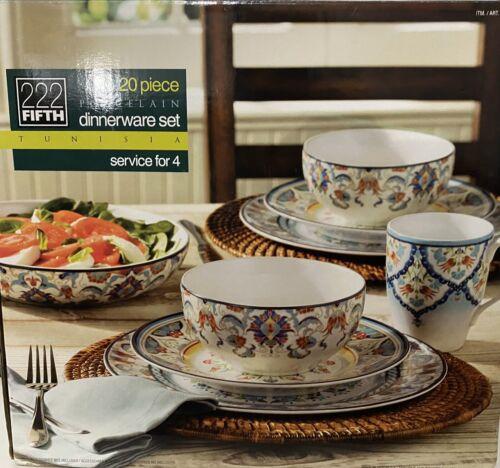 222 FIFTH Porcelain  Dinnerware Set Service For 4 New Open B