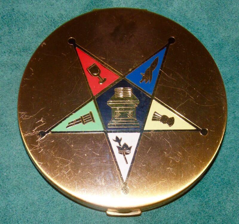"Vtg OES EASTERN STAR Insignia GOLDTONE Medal Powder COMPACT MIRROR 3.75"" Dia"