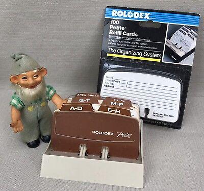 Rolodex S300 Vintage Petite Card File Brown Divider Beige Bottom Small Refills