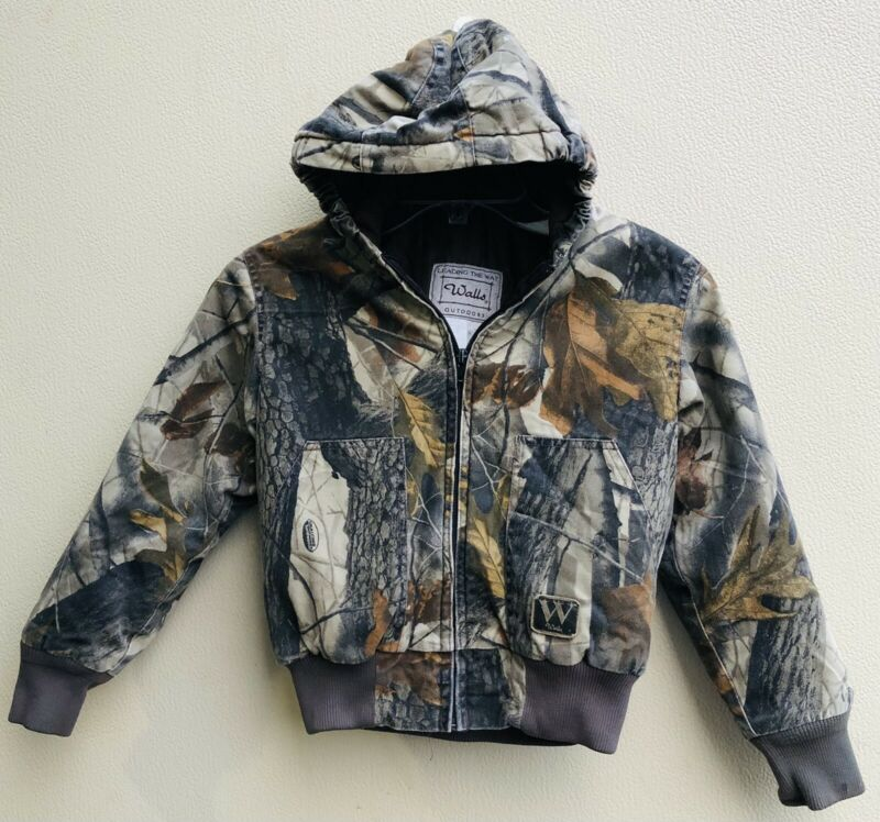 Walls Outdoors Youth Boy Sz 10 Regular Camo Hooded Jacket Coat  Zippered