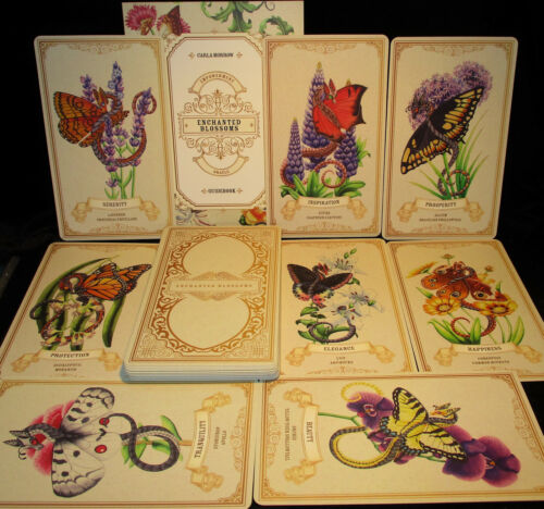 SEALED NEW ~ ENCHANTED BLOSSOMS CARDS & BOOK ORACLE DRAGONS BUTTERFLIES FLOWERS
