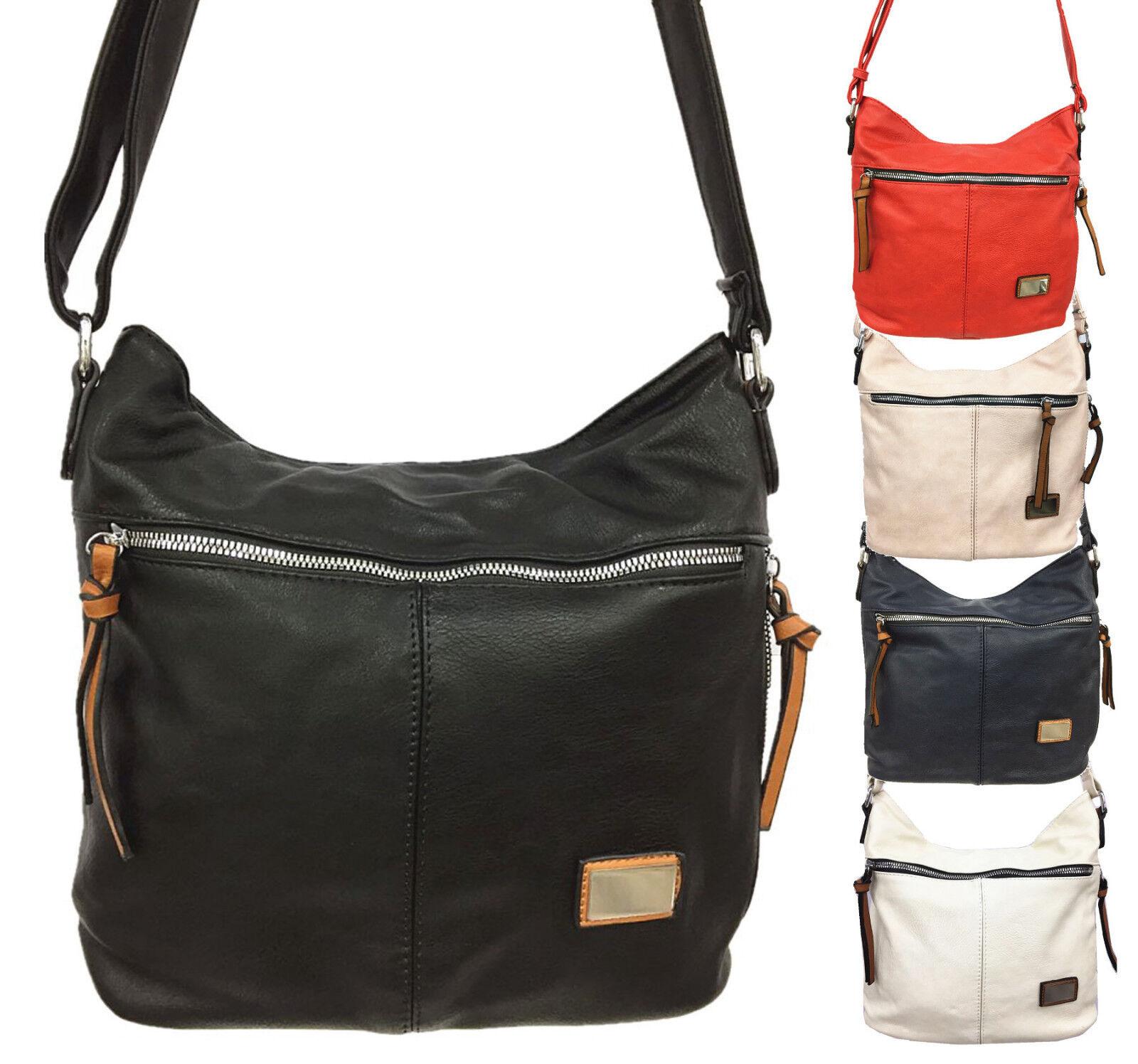 Handtasche Damen schwarz Damentasche Schultertasche Hobo Tasche Kunstleder 1424