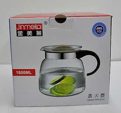 Jinmeilai Glass Tea Kettle 1.8 Liter  12 Cup JML F06 Fire Pot Stovetop Safe