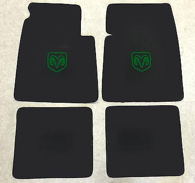 Autoteppich Fußmatten für Dodge Coronet Coupe 1969-70 Velours schwarz-grün 4tlg.