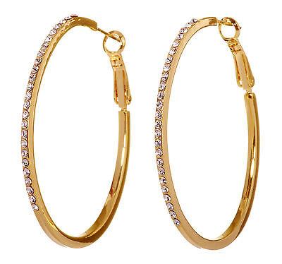 Swarovski Elements Crystal Moonlight Hoop Pierced Earrings Gold Authentic 7234c