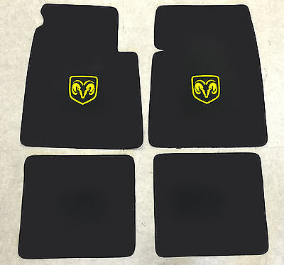 Autoteppich Fußmatten für Dodge Coronet Coupe 1969-70 schwarz-gelb 4tlg Velours