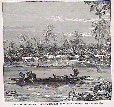African Village on River by Boat -1915 Page of History