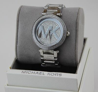 NEW AUTHENTIC MICHAEL KORS PARKER SILVER CRYSTALS WOMEN'S MK5925 WATCH