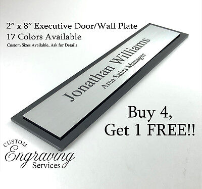 Office Door Wall Name Plate Executive Sign Two Tone With Acrylic Back 2 X 8