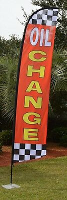 Oil Change Flutter Feather Swooper Business Flag Banner Advertising Red Yellow